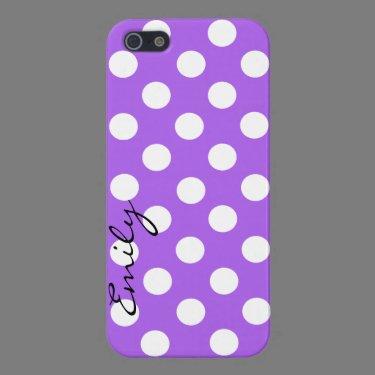 Purple & White Custom Polka Dot iPhone 5 Case