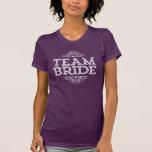 Purple & White Cute Team Bride Wedding Party Gift T-shirts