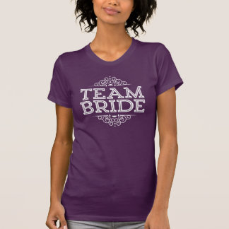 Purple & White Cute Team Bride Wedding Party Gift T-shirts