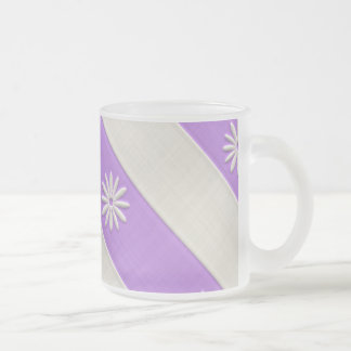 Purple/White Daisy Pattern Frosted Glass Coffee Mug