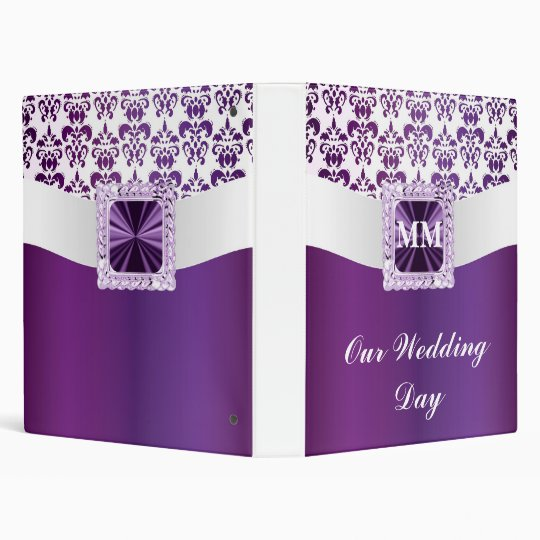 Purple & white damask 3 ring binder