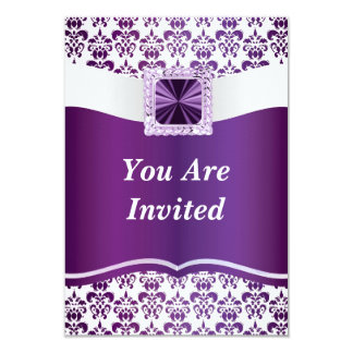 Purple & white damask any occasion personalized announcement