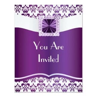 Purple & white damask any occasion personalized announcements