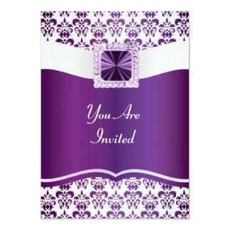 Purple & white damask any occasion personalized invitation