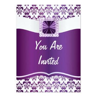 Purple & white damask any occasion custom invites