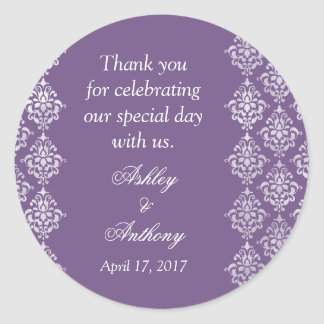 Purple White Damask Arabesque Personalized Wedding Classic Round Sticker