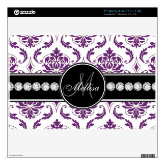 Purple White Damask Diamonds Monogram MacBook Air Decals