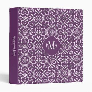 Purple & White Damask Pattern Monogram Binder