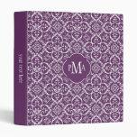 Purple & White Damask Pattern Monogram Binders