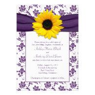 Purple White Damask Sunflower Wedding Invitation