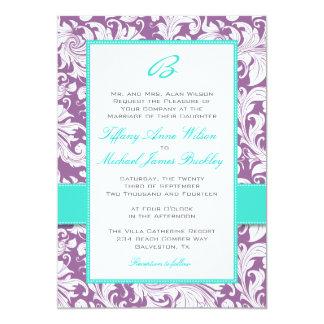 purple white damask turquoise wedding invitation - Purple And Turquoise Wedding Invitations
