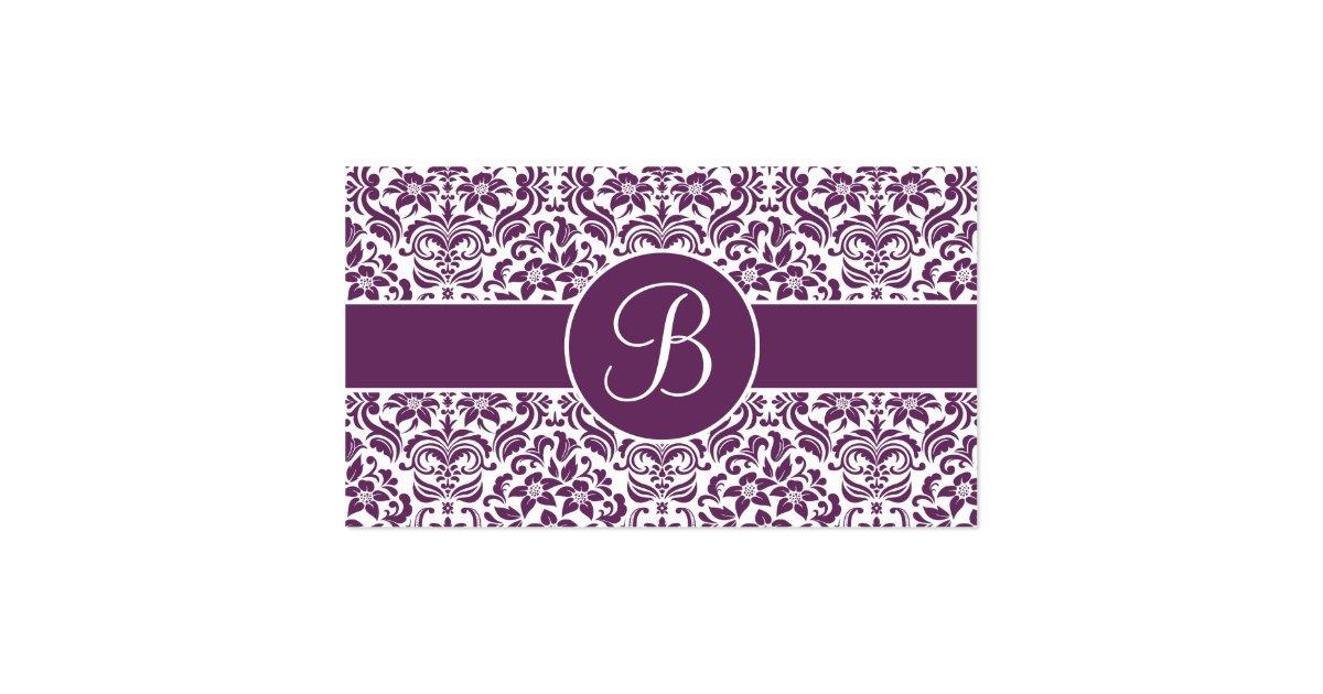 Purple white damask wedding gift registry cards zazzle for Gift cards for wedding registry