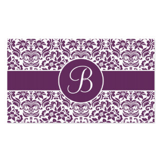 Purple & White Damask Wedding Gift Registry Cards Business Cards