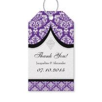 Purple White Damask Wedding Thank You Tags