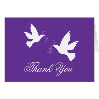Purple & white dove birds wedding thank you card