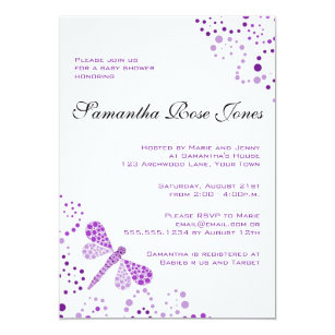 Purple dragonfly invitations announcements zazzle purple white dragonfly elegant baby shower card filmwisefo Images