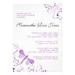 Purple & White Dragonfly Elegant Baby Shower Custom Announcements