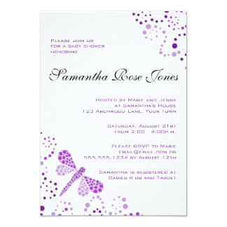 Purple & White Dragonfly Elegant Baby Shower Custom Announcements
