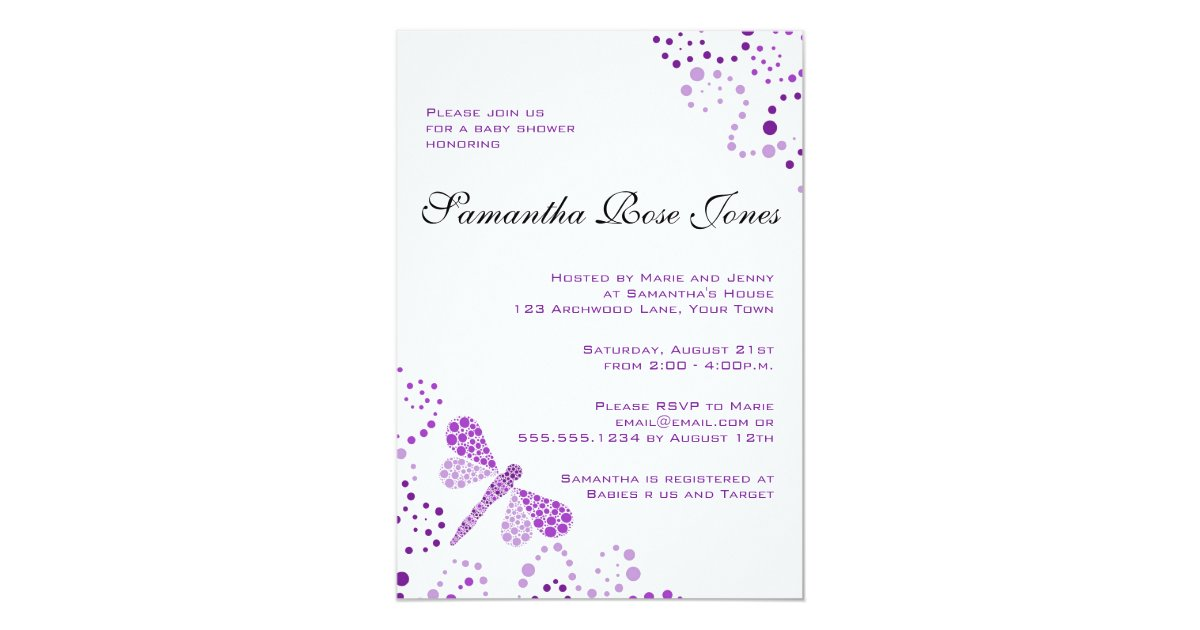 Purple White Dragonfly Elegant Baby Shower Invitation