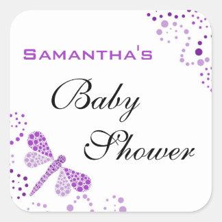 Purple & White Dragonfly Elegant Baby Shower Square Sticker