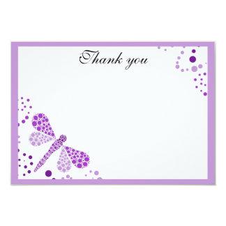 Purple & White Dragonfly Flat Thank You w/ Border 3.5x5 Paper Invitation Card