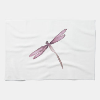Purple white dragonfly kitchen towel dragonflies