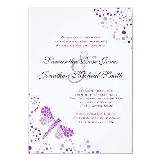 Purple White Dragonfly Pointillism Custom Wedding Custom Invites