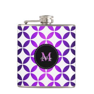 Purple White Elegant Abstract Circles and Diamonds Hip Flask