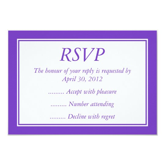 Purple & White Event Reply, RSVP or Response Cards