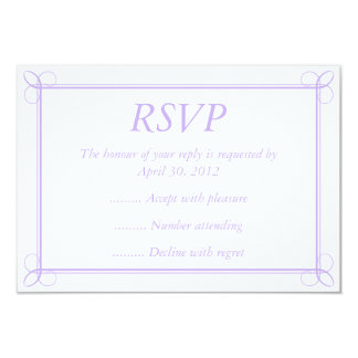 """Purple & White Event Reply, RSVP or Response Cards 3.5"""" X 5"""" Invitation Card"""