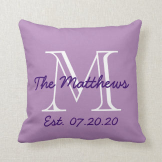 Purple White Family Monogram Throw Pillow