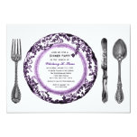 Purple White Fine Dining Dinner Party Personalized Announcements