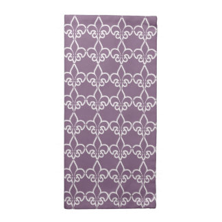 Purple White Fleur de Lis Chain Pattern Napkin