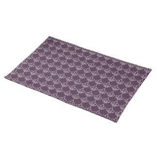 Purple White Fleur de Lis Chain Pattern Placemat