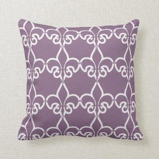 Purple White Fleur de Lis Chain Pattern Throw Pillow