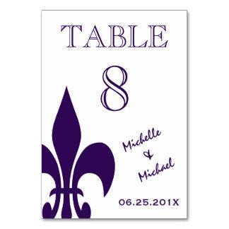 Purple White Fleur de Lis Event Table Marker Card Table Cards