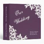 Purple White Fleur de Lis Pattern Wedding Planner Binders