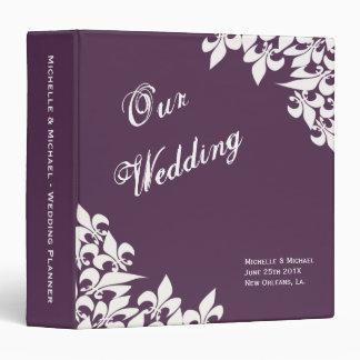 Purple White Fleur de Lis Pattern Wedding Planner Binder