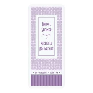 Purple White Fleur de Lis Ticket Bridal Shower Invite