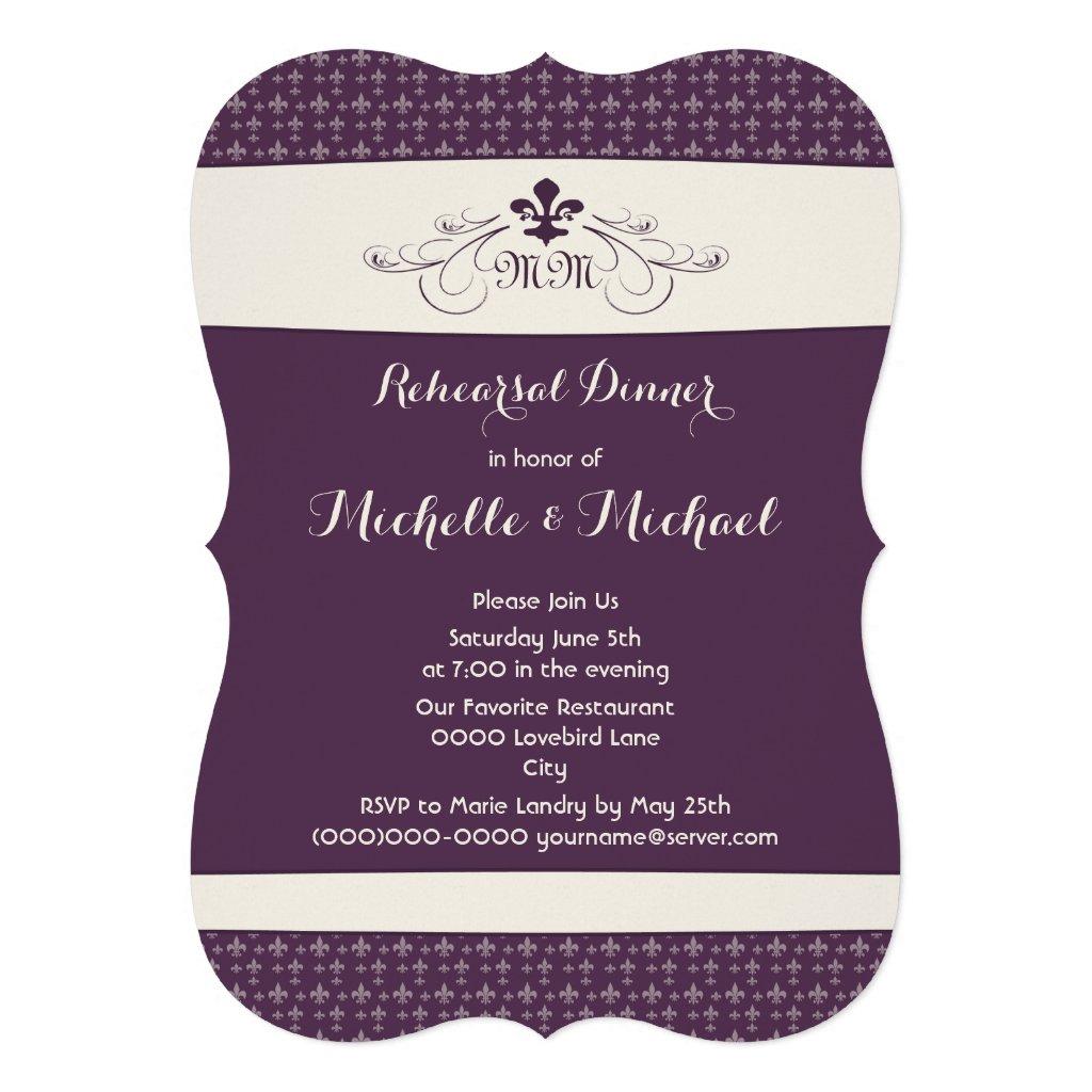 Purple White Fleur de Lis Wedding Announcement