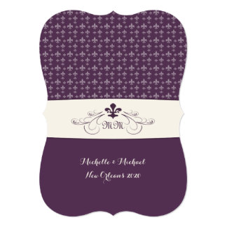 Purple White Fleur de Lis Wedding Card
