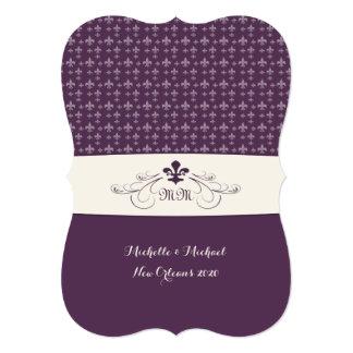 Purple White Fleur de Lis Wedding 5x7 Paper Invitation Card
