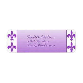 Purple & White Fleur De Lis Wedding Return Address Label