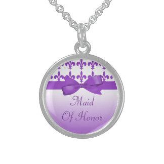 Purple & White Fleur De Lis Wedding Sterling Silver Necklace