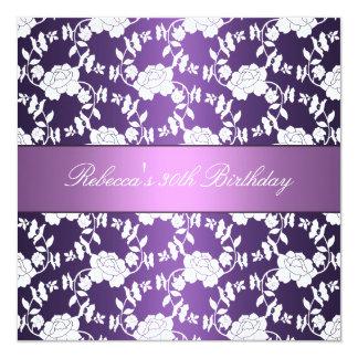 Purple White Floral 30th Birthday Elegant Card