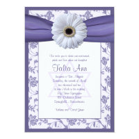 Purple White Floral Damask Bat Mitzvah Invitation