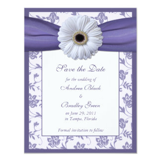 Purple White Floral Damask Save the Date Card