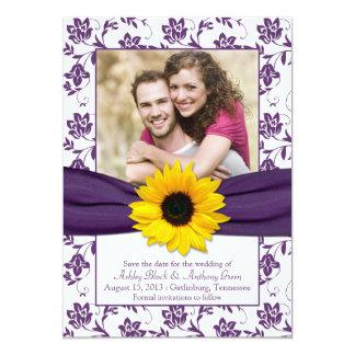 Purple White Floral Damask Save the Date Invite