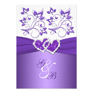 Purple White Floral Joined Hearts Wedding Invite