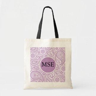 Purple White Floral Paisley Pattern Canvas Bag